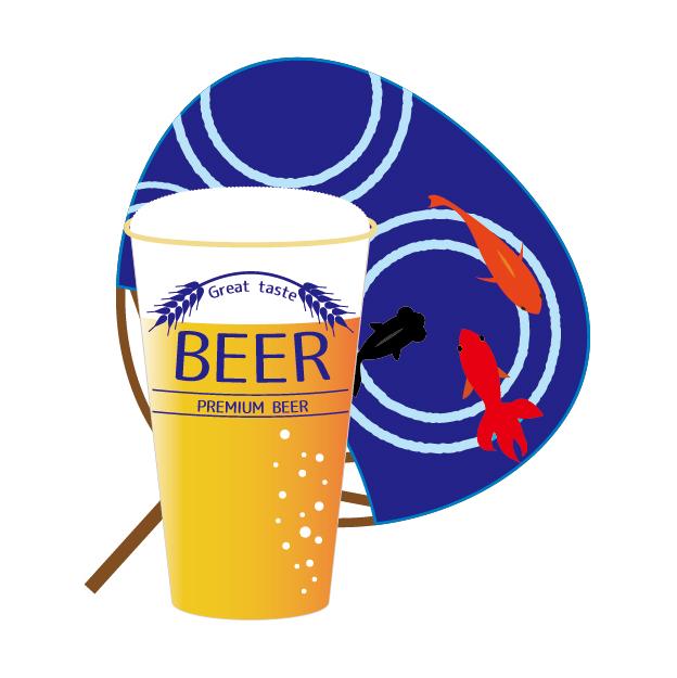 うちわ&ビール